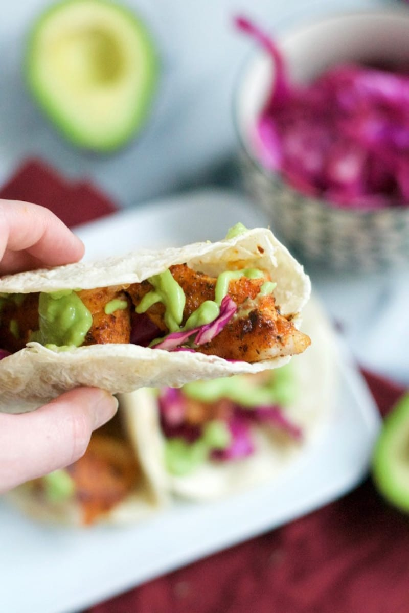 Blackened fish tacos with creamy avocados for Blackened fish tacos