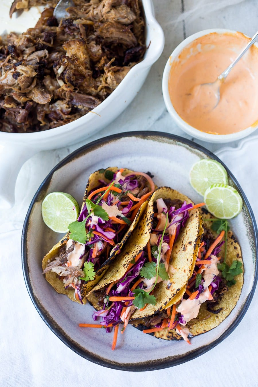 five spice pulled pork tacos with asian slaw and spicy five spice pork ...