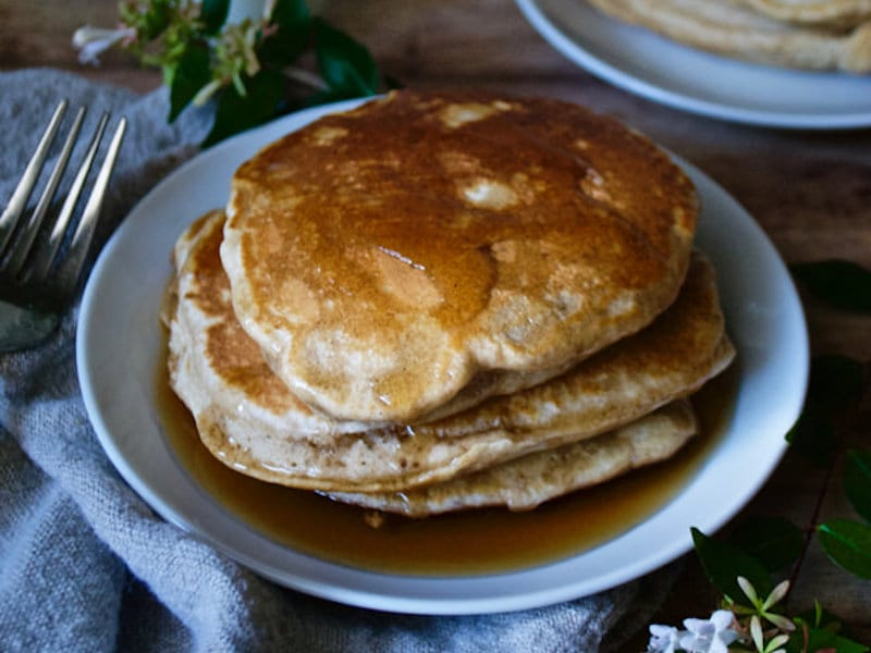 ... whole wheat pancakes, whipped up in just one bowl for a hearty morning