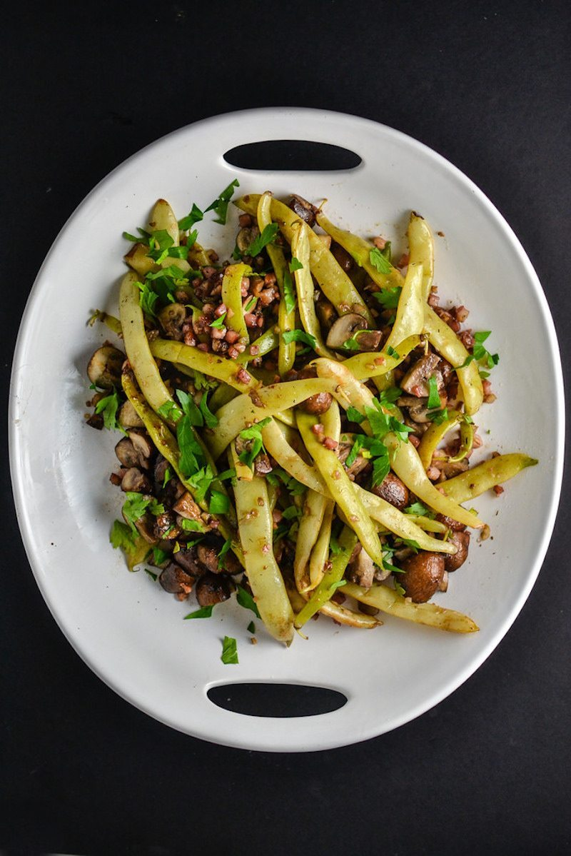 Dragon Tongue Beans With Pancetta And Mushrooms