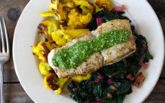 Seared+Fish+with+Sauce+Verte,+Cauliflower,+Preserved+Lemon+and+Chard