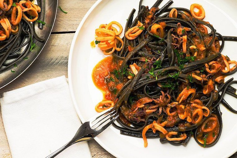 Squid Ink Spaghetti Squid Ink Seafood Past...