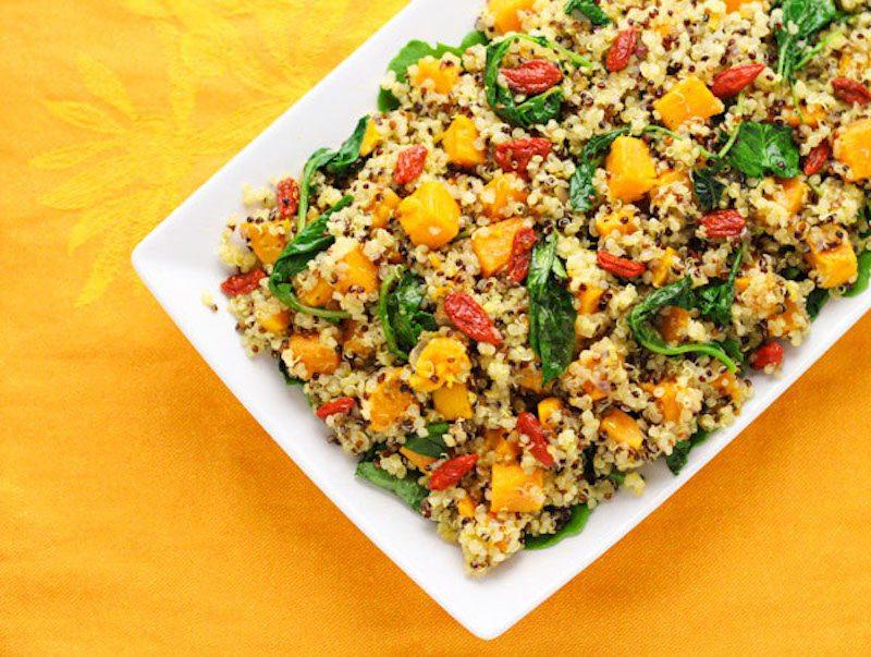 Warm Quinoa Sweet Potato Kale and Goji Berry Salad – Honest Cooking