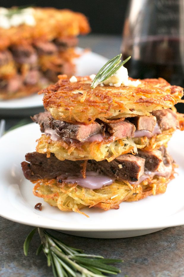 Garlic Rosemary Steak and Potato Stacks
