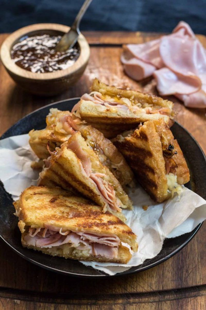 Gruyere Grilled Cheese, Black Forest Ham and Fig Jam – Honest ...