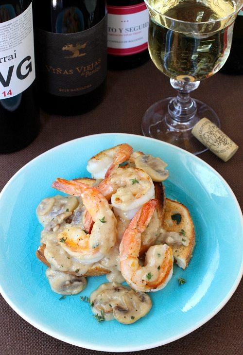 Shrimp Toasts and White Wine Sauce