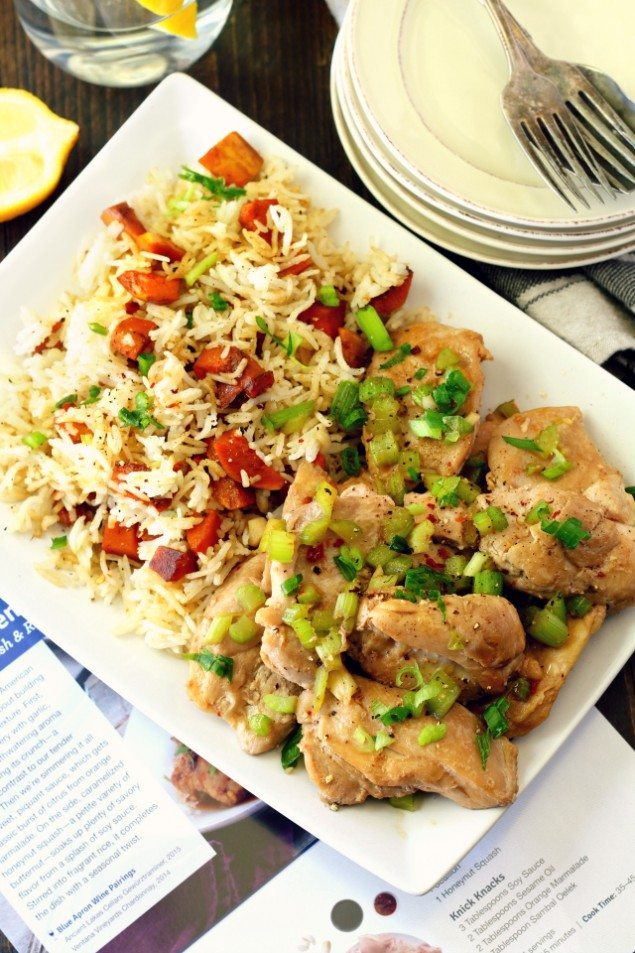Easy Orange Chicken with Honeynut Squash and Rice