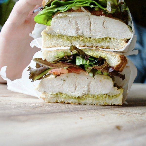 Chicken Pesto Sandwich - Simple sandwich perfect for lunch or dinner. Sure to be a crowd pleaser!