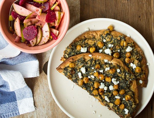 Kale-Tahini-Flatbreads-with-Roasted-Chickpeas-and-Beet-Pear-Salad-4326