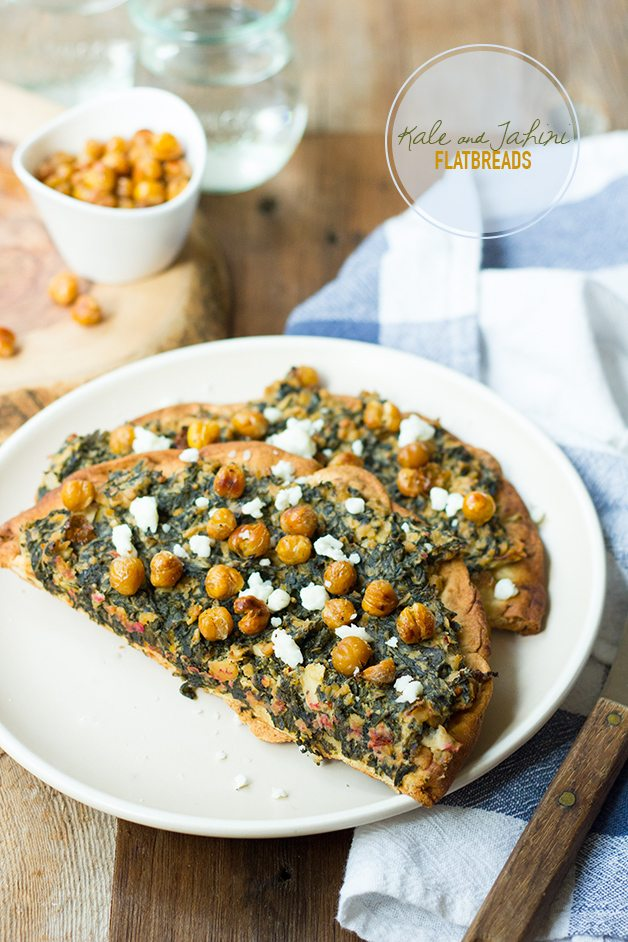 Kale and Tahini Flatbreads with Chickpeas, Beet and Pear Salad