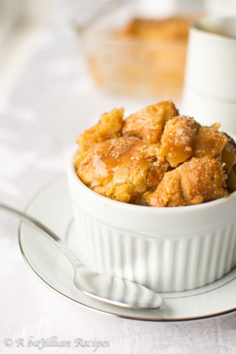 Croissant Bread Pudding Drizzled with Salted Caramel