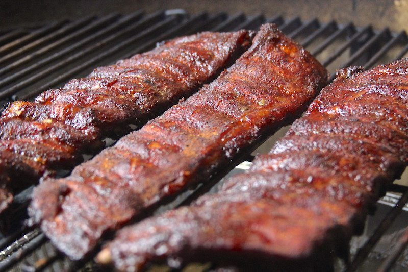 cooked ribs on grill