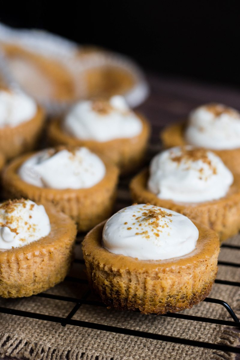 Mini Pumpkin Cheesecakes with Whipped Sour Cream