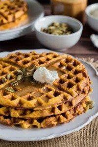 Pumpkin Waffles with Cajeta Caramel