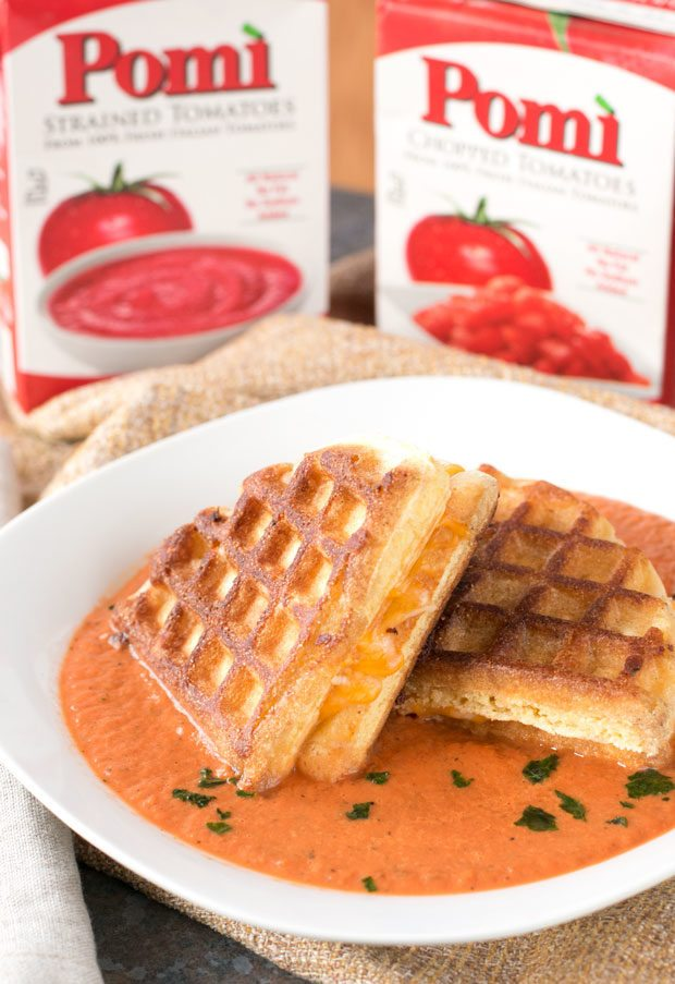Tomato Basil Soup and Cornbread Waffle Grilled Cheese