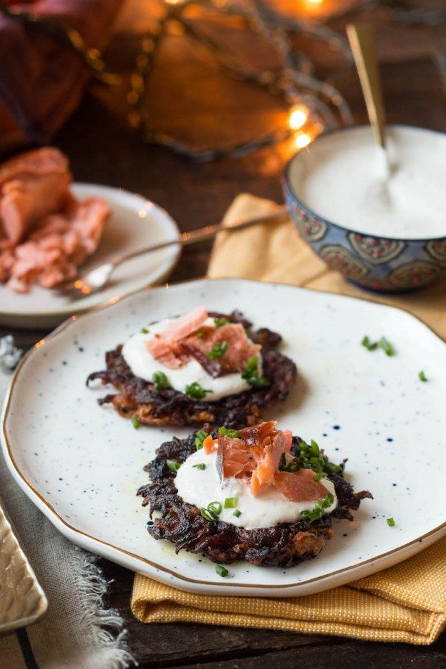 Smoked Salmon, Beet and Carrot Latkes with Horseradish Cream