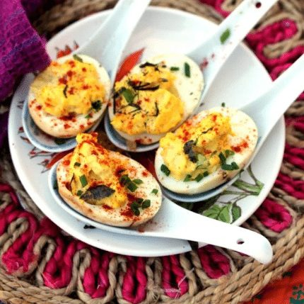 Holiday Spiced Deviled Eggs