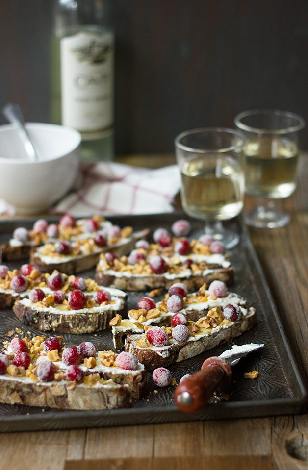 Sugared Cranberry and Walnut Goat Cheese Crostini