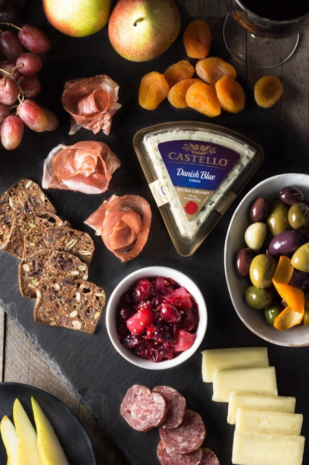 Festive Cheese Board with Cranberry Pear Mostarda and Citrus Olives