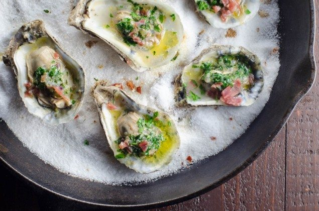 Herb Butter Oysters with Prosciutto