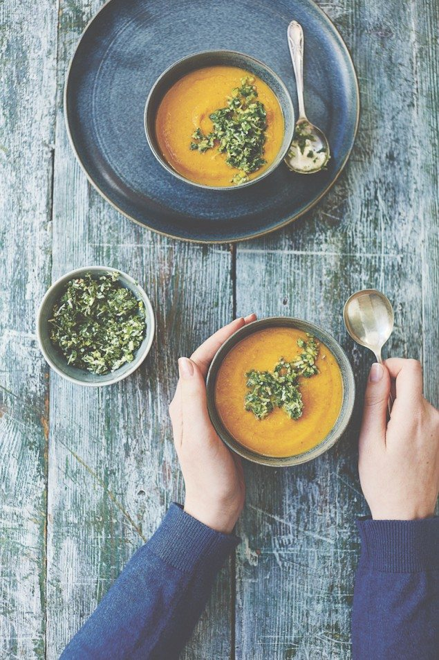 Carrot, Coconut, and Ginger Soup with Cilantro Sambal