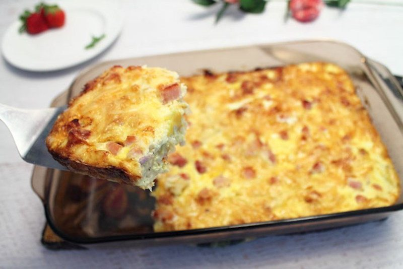 Ham-and-Cheese-Breakfast-Casserole-served