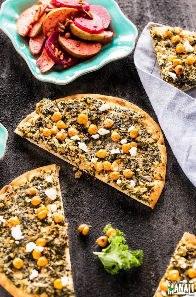 Kale Tahini Flatbreads with Roasted Chickpeas