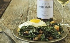 White Wine and Tuscan Kale Caesar Salad with Crispy Shiitakes