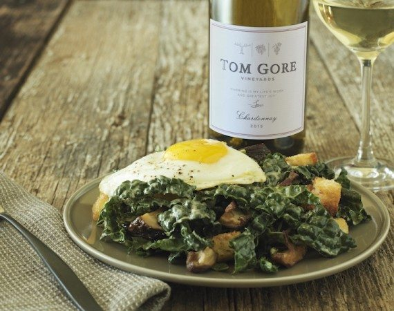 White Wine and Tuscan Kale Caesar Salad with Crispy Shiitakes