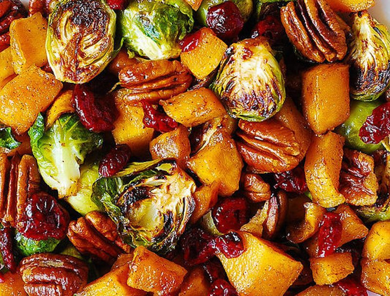 roasted-brussels-sprouts-with-butternut-squash-pecans-and-cranberries-534x405