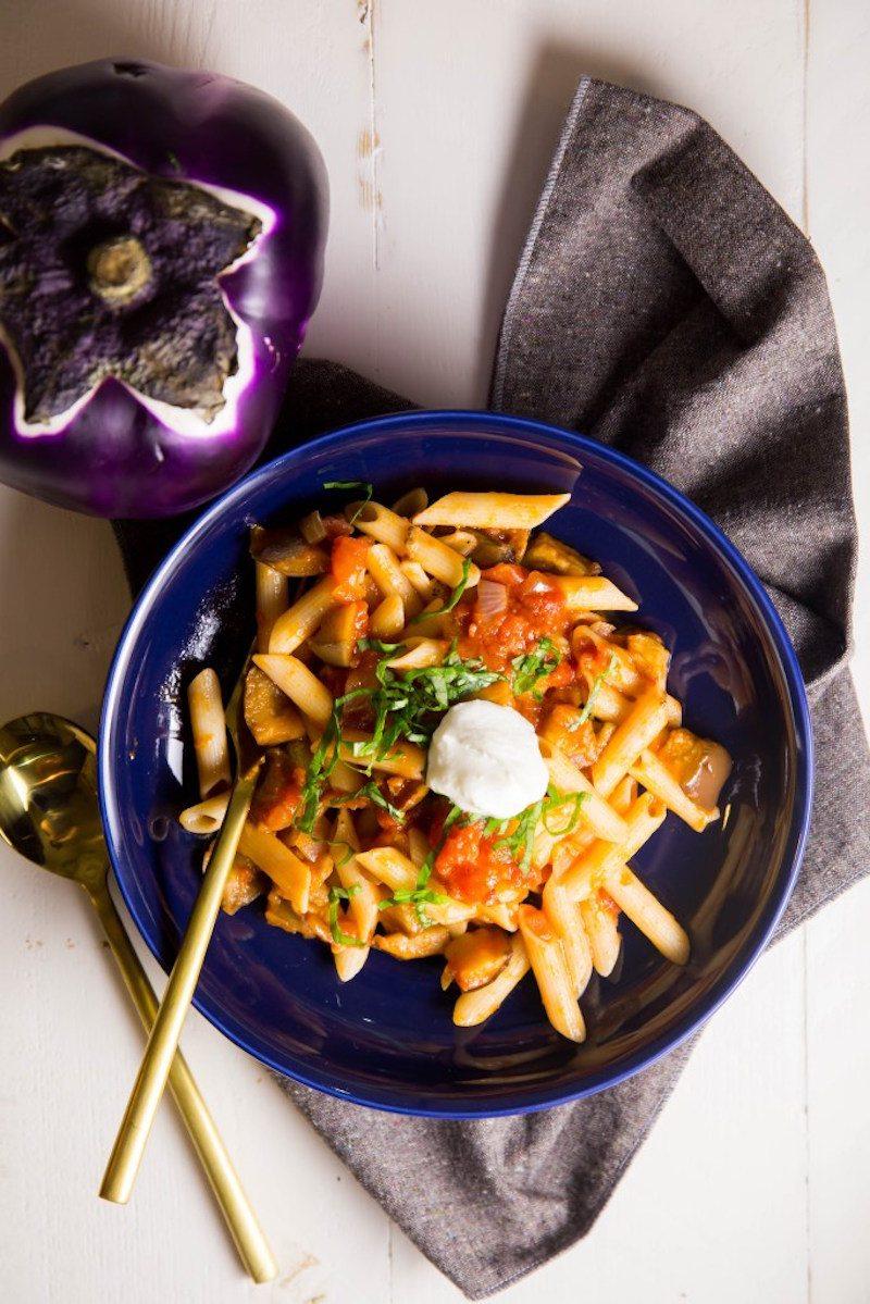 ... aubergine, make a simple gluten free roasted eggplant pasta tonight
