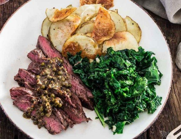 steak-with-green-peppercorn-sauce-kale-roasted-potatoes