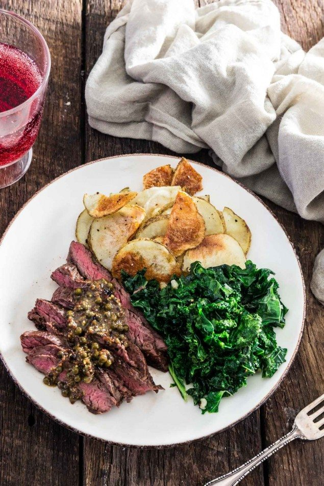 Easy Steak with Green Peppercorn Sauce