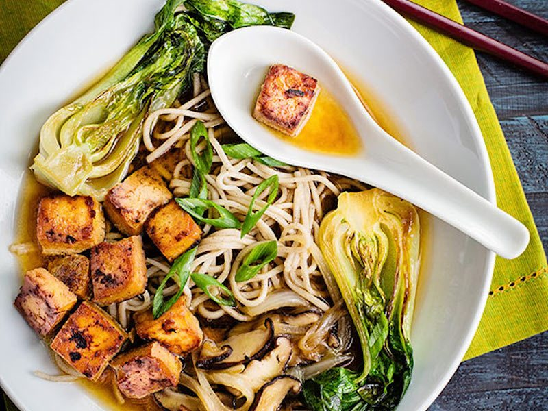 This Soba Noodle Soup with Seared Baby Bok Choy and Spicy Tofu is filled with good for you nutrients. Perfect for #MeatlessMonday . Recipe & Photography copyright 2014 ANITA L. ARAMBULA | www.confessionsofafoodie.me | @afotogirl. ALL RIGHTS RESEVERED. PERMISSION NEEDED FOR REPRODUCTION ON ANY PLATFORM IN ANY MEDIA.