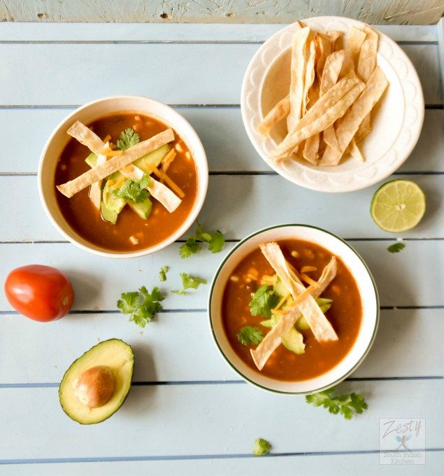 Hearty Vegetarian Tortilla Soup