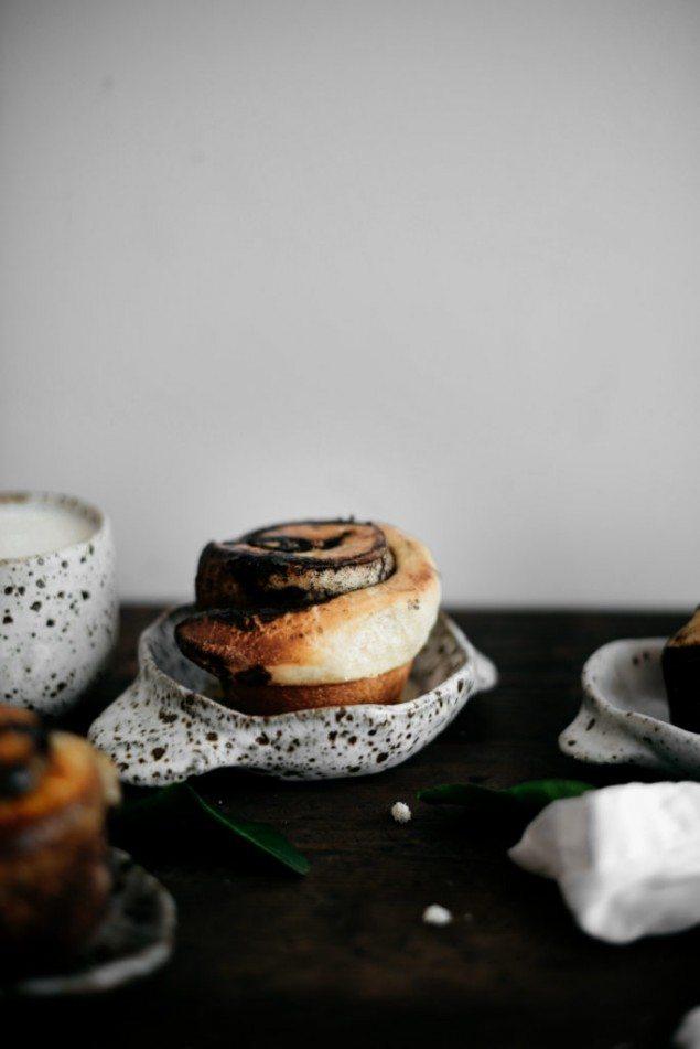 Black Sesame and White Chocolate Sticky Buns with Orange Glaze