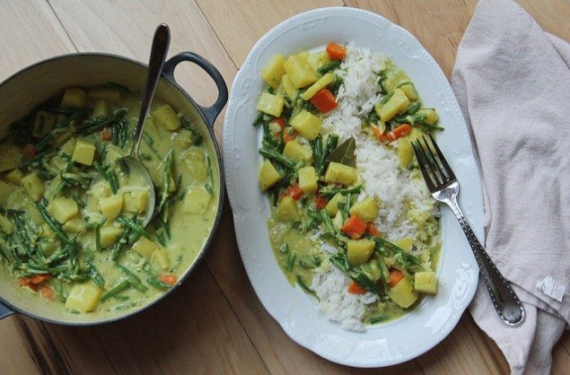 Indian Curry Potatoes and Spring Vegetables