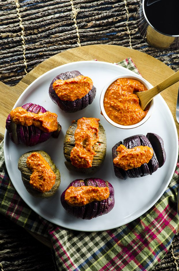 Grilled Hasselback Potatoes with Romesco Sauce