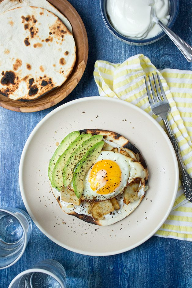 Spicy Potato and Egg Tostadas