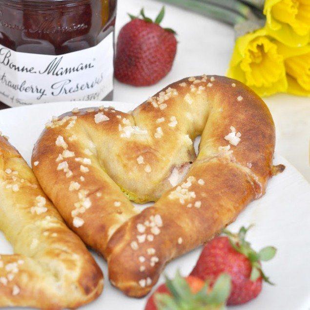 Ricotta and Strawberry Stuffed Pretzels