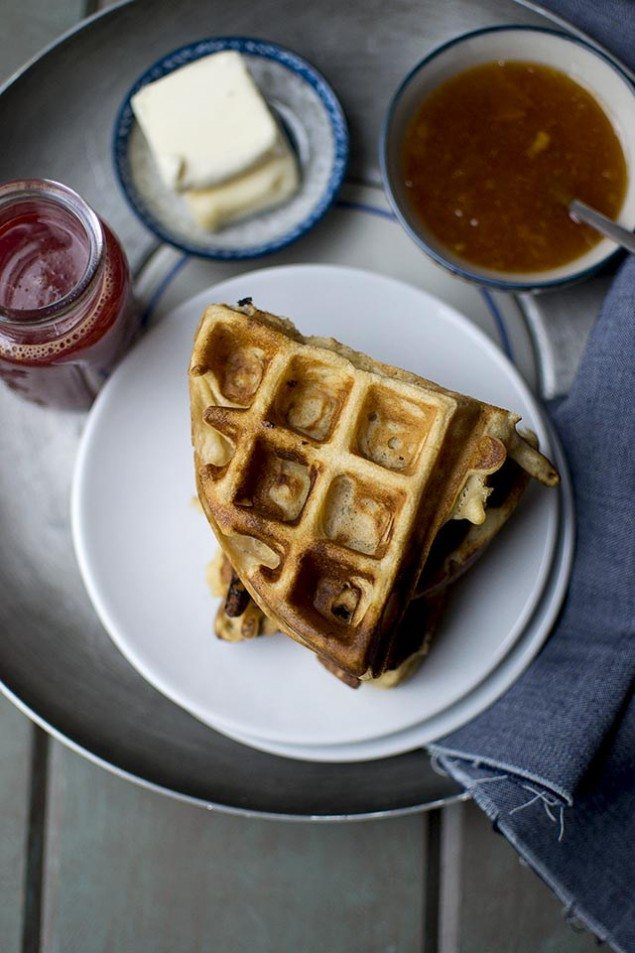 Almond Waffles and Apricot Preserves