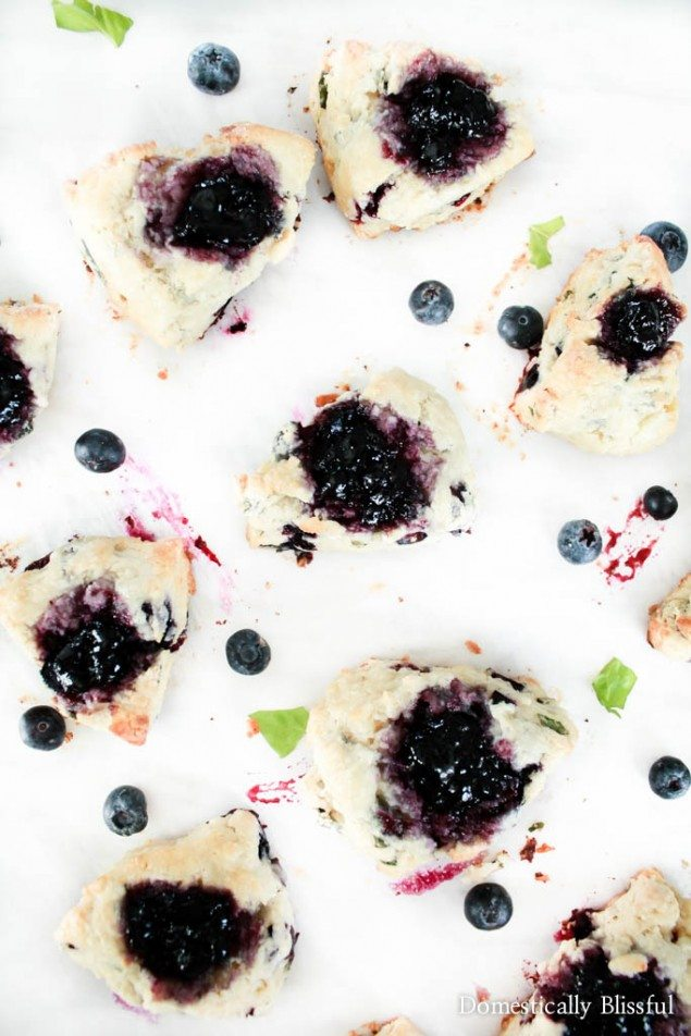 Basil Goat Cheese and Blueberry Scones