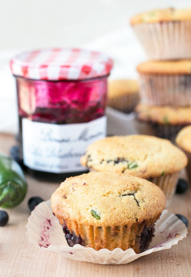 Blueberry Jalapeño Cornbread Muffins