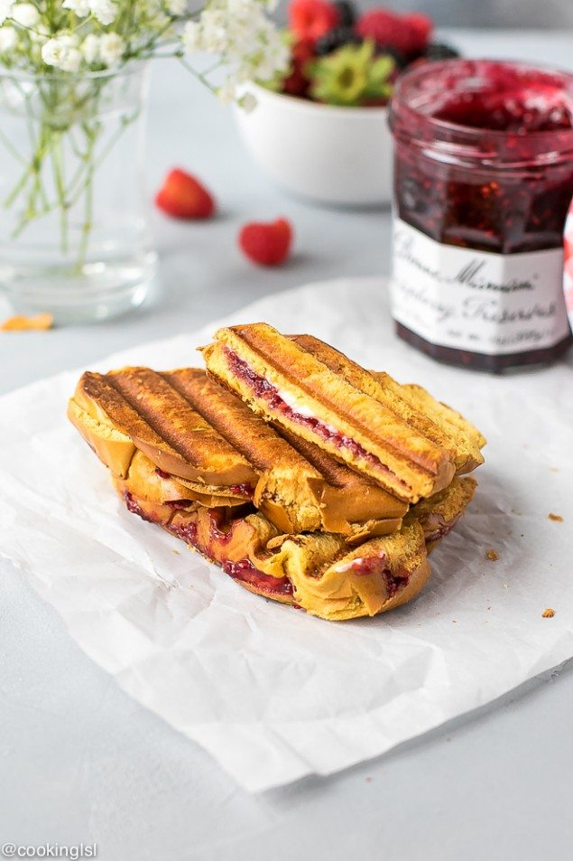 Cream Cheese and Raspberry Panini