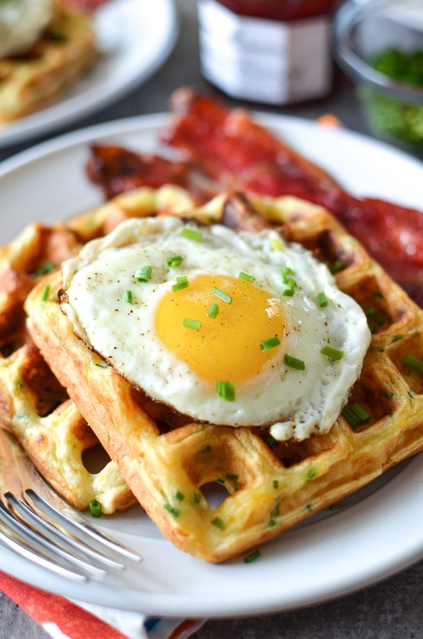 Cheddar and Chive Waffles with Candied Bacon