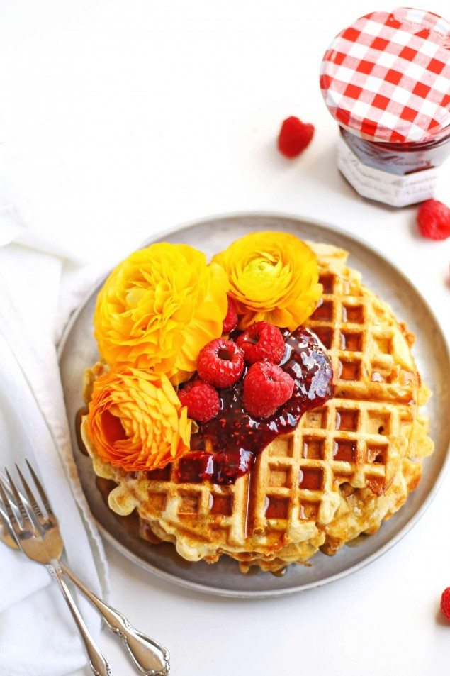 Green Chili and Cheese Cornbread Waffles with Raspberry Preserves