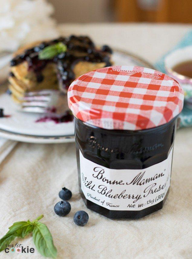 Basil Cornmeal Pancakes with Wild Blueberry Preserves