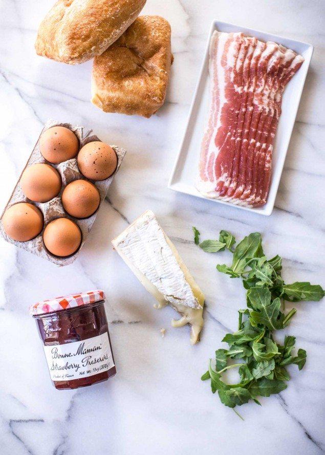 Strawberry-Glazed Bacon, Brie and Arugula Breakfast Sandwich