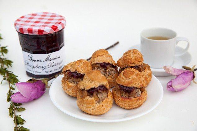 Raspberry Preserves and Pâté Choux Bites