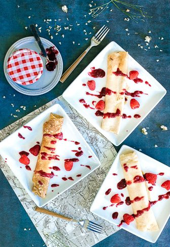 Raspberry and Mascarpone Crepes